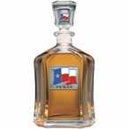 Texas Flag Capitol Glass Decanter with Pewter Accents