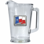 Texas Flag Glass Pitcher with Pewter Accent