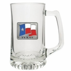 Texas Flag Glass Super Beer Mug with Pewter Accent
