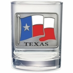 Texas Flag Pewter Accent Double Old Fashion Glasses, Set of 2