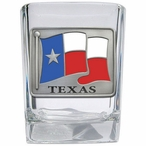 Texas Flag Pewter Accent Shot Glasses, Set of 4