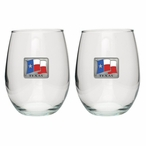 Texas Flag Pewter Accent Stemless Wine Glass Goblets, Set of 2
