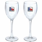 Texas Flag Pewter Accent Wine Glass Goblets, Set of 2