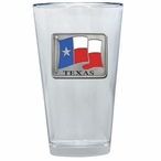 Texas Flag Pint Beer Glasses with Pewter Accent, Set of 2