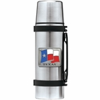 Texas Flag Stainless Steel Thermos with Pewter Accent