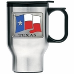 Texas Flag Stainless Steel Travel Mug with Handle and Pewter Accent