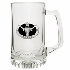 Texas Longhorn Bull Black Glass Super Beer Mug with Pewter Accent