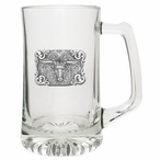 Texas Longhorn Bull Glass Super Beer Mug with Pewter Accent