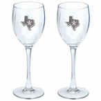 Texas Pewter Accent Wine Glass Goblets, Set of 2