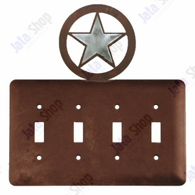 Texas Star Quad Toggle Metal Switch Plate Cover Western