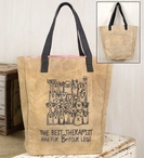 The Best Therapist Has Fur & Four Legs Canvas Grocery Market Tote Bag