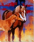 The Color of Love Horse and Her Foal Wrapped Canvas Giclee Print