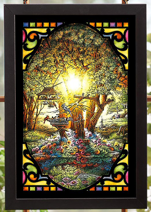 The Colors of Spring Scenic Stained Glass Wall Art - Wall Decor ...