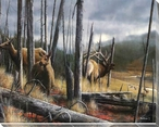 The Consequence of Time Elk Family Wrapped Canvas Giclee Print