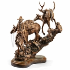 The Crossing Cowboy and Pack Horses Hand Painted Sculpture