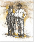 The Drover Cowboy with His Horse Wrapped Canvas Giclee Print