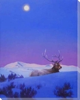 The Gift Elk in the Snow Wrapped Canvas Giclee Print Wall Art