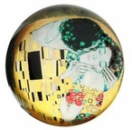 The Kiss Glass Paperweight by Gustav Klimt