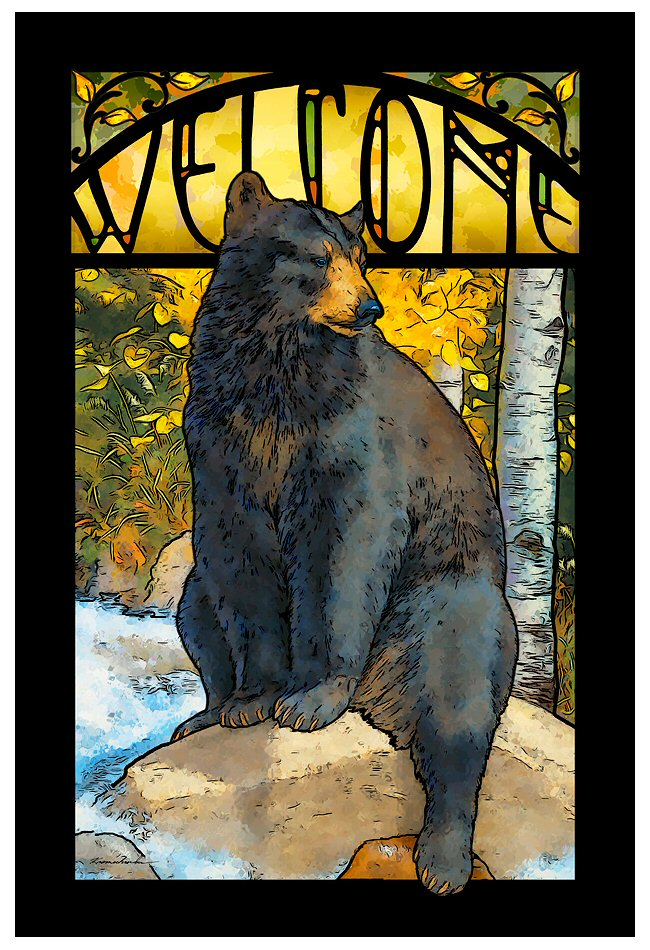 The Paws That Refreshes Black Bear Stained Glass Welcome Wall Art ...