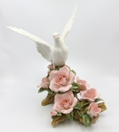 The White Dove Bird with Roses Porcelain Sculpture