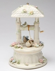 The Wishing Well with Bird and Flowers Musical Music Box Sculpture