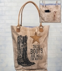 These Boots Stonewashed Canvas and Leather Grocery Market Tote Bag