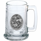 Three Bighorn Sheep Glass Beer Mug with Pewter Accent