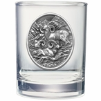 Three Bighorn Sheep Pewter Accent Double Old Fashion Glasses, Set of 2