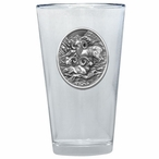 Three Bighorn Sheep Pint Beer Glasses with Pewter Accent, Set of 2