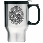 Three Bighorn Sheep Stainless Steel Travel Mug with Handle and Pewter