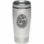 Three Bighorn Sheep Stainless Steel Travel Mug with Pewter Accent