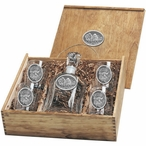 Three Buffalo Capitol Decanter & DOF Glasses Box Set w/ Pewter Accents