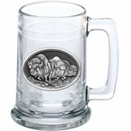 Three Buffalo Glass Beer Mug with Pewter Accent