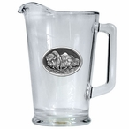 Three Buffalo Glass Pitcher with Pewter Accent