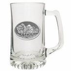 Three Buffalo Glass Super Beer Mug with Pewter Accent