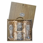 Three Buffalo Pilsner Glasses & Beer Mugs Box Set with Pewter Accents