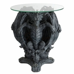 Three Dragons Sitting Round Glass End Table