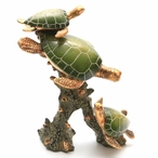 Three Green Turtles Swimming Statue