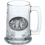 Three Grizzly Bears Glass Beer Mug with Pewter Accent
