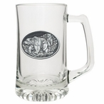 Three Grizzly Bears Glass Super Beer Mug with Pewter Accent