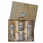 Three Grizzly Bears Pilsner Glasses and Beer Mugs Box Set with Pewter