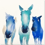 Three Horses Wrapped Canvas Giclee Print Wall Art