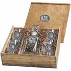 Three Lions Oval Capitol Decanter & DOF Glasses Box Set with Pewter