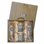 Three Lions Oval Pilsner Glasses & Beer Mugs Box Set w/ Pewter Accents