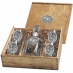 Three Moose Capitol Decanter & DOF Glasses Box Set with Pewter Accents