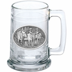 Three Moose Glass Beer Mug with Pewter Accent