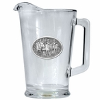 Three Moose Glass Pitcher with Pewter Accent