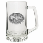 Three Moose Glass Super Beer Mug with Pewter Accent
