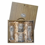Three Moose Pilsner Glasses and Beer Mugs Box Set with Pewter Accents