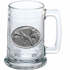 Three Pheasants Glass Beer Mug with Pewter Accent